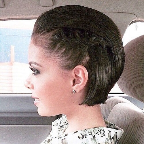Slicked Back and Small Braid Hairstyles