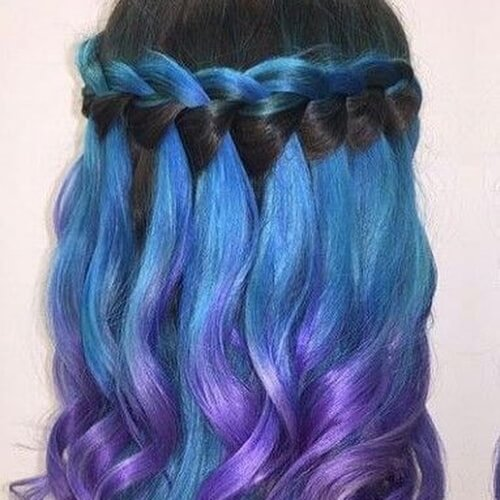 Waterfall Braid for Blue Ombre Hair