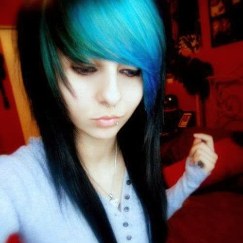 Colored Bangs Emo Cut Hairstyles for Girls