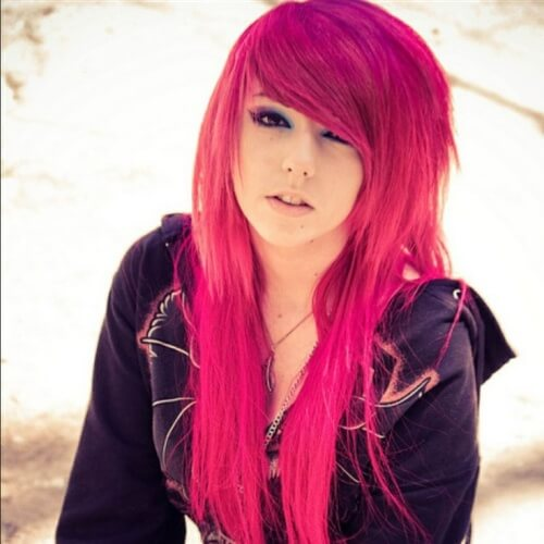 Cool Emo Hairstyles for Girls in Pink