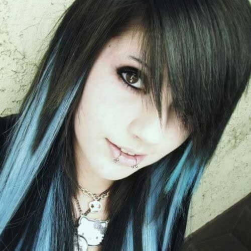 Emo Long Hairstyles for Girls with Highlights