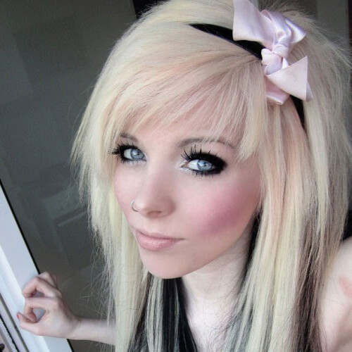 Headband Emo Hairstyles for Girls with Long Hair