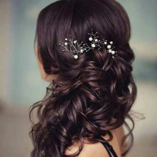 Long Curly Hairstyles for Bridesmaids