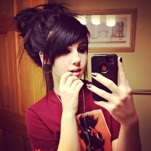 Messy Bun Emo Hairstyles for Girls