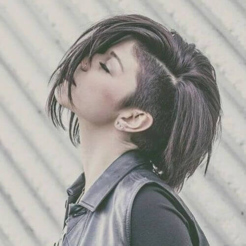 Short Haircuts for Thick Hair with Shaved Side