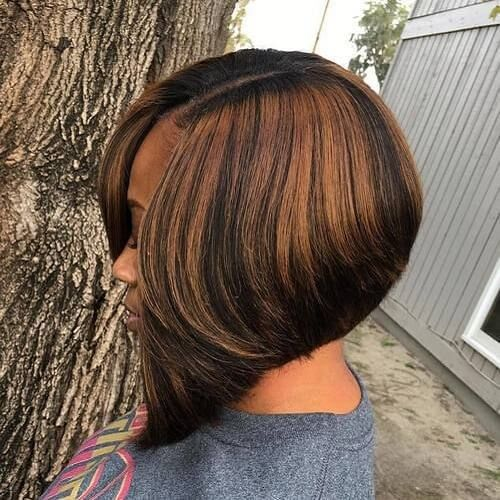 Bob Hairstyles for Black Women with Color Accents