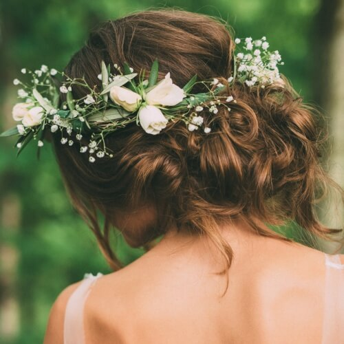 Bridal Updos with Flower Crowns