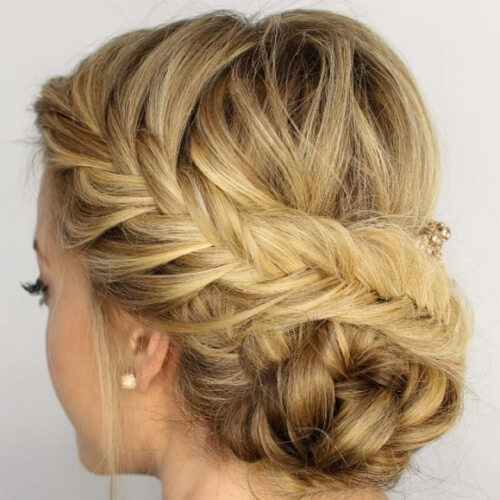 Swirling Fishtail Braid Buns