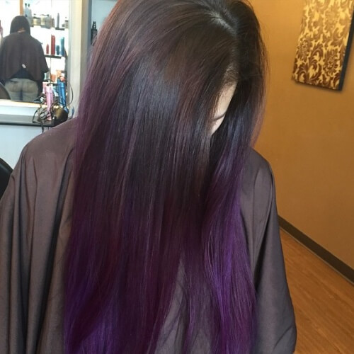 Hair with Plum Tips