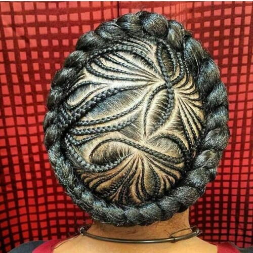 Halo Braid with Cornrows