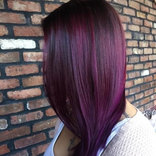 Plum Hair Color Balayage