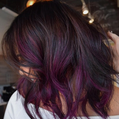 Plum Hair Color Highlights