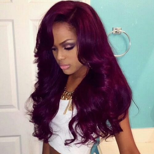 Plum Hair Color on Dark Skin