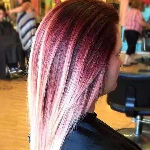Plum Hair Color with Blonde