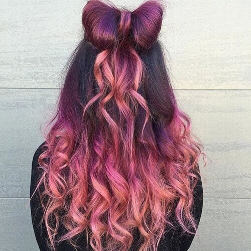 Plum and Peach Hair
