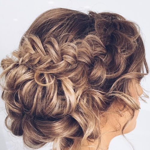 Side Braided Crown and Low Bun