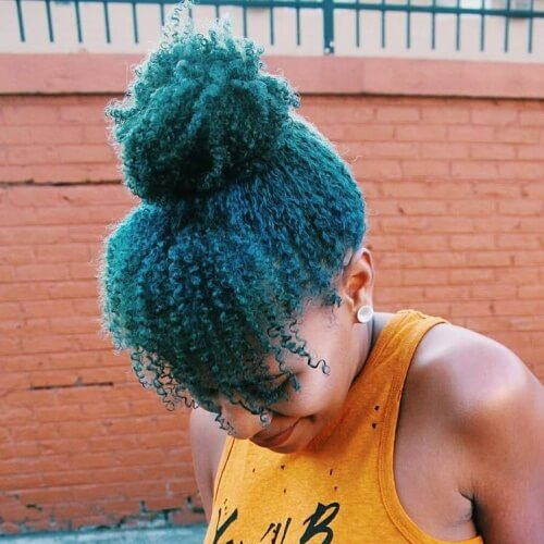 Afro-textured Teal Hair