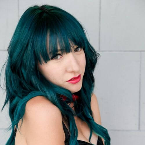 Bangs Hairstyle with Teal Hair Color