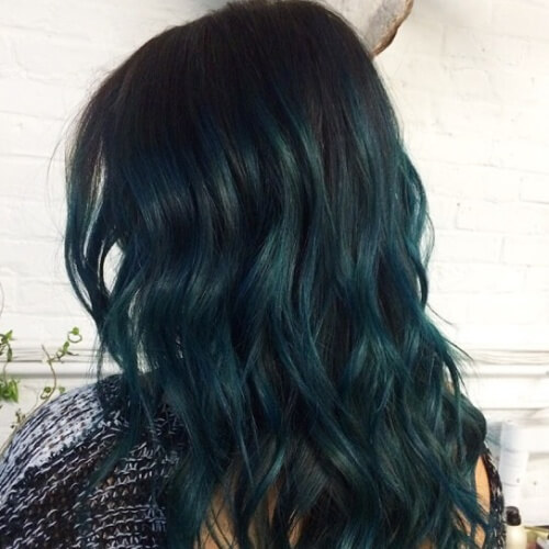 Black Hair with Teal Tint