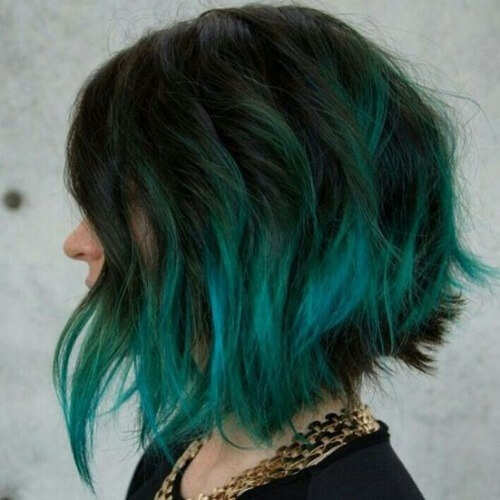 Black and Teal Hair Color Ombre