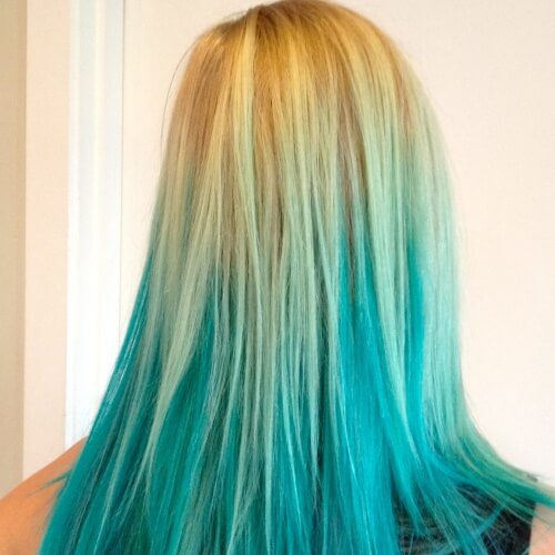 Blonde and Teal Ombre