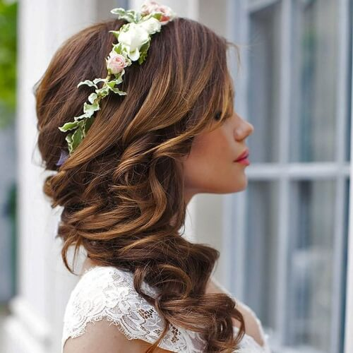 Flower Crown Wedding Hairstyles for Long Hair