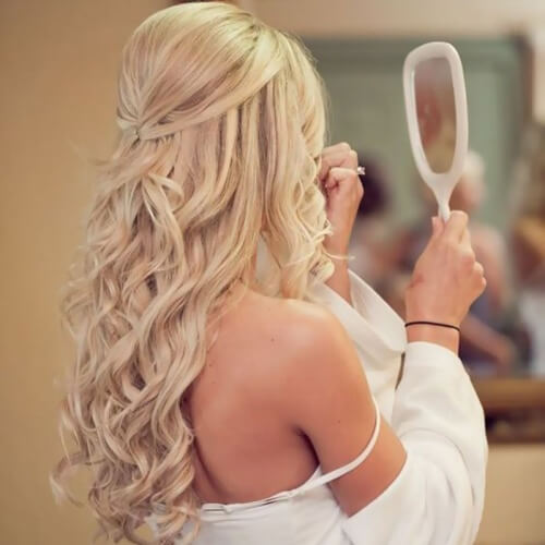 Half Pinned Wedding Hairstyles for Long Hair