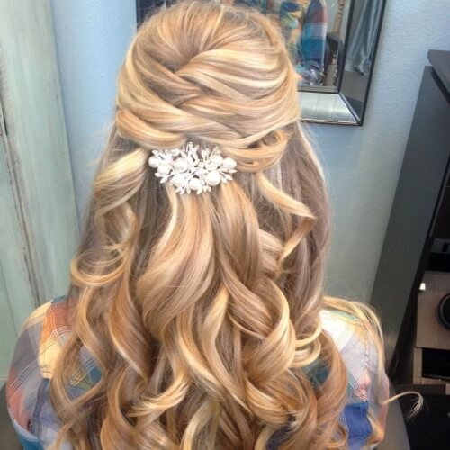 Half Up Braided Wedding Hairstyles for Long Hair