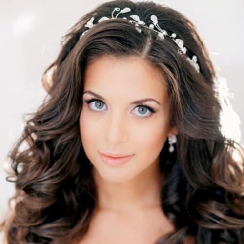 Headband Wedding Hairstyles for Long Hair