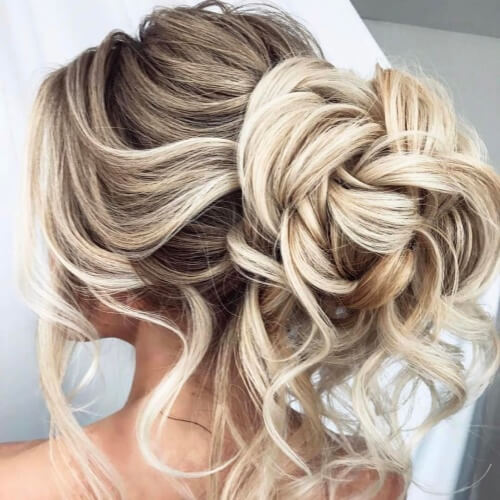 Loose Bun Wedding Hairstyles for Long Hair
