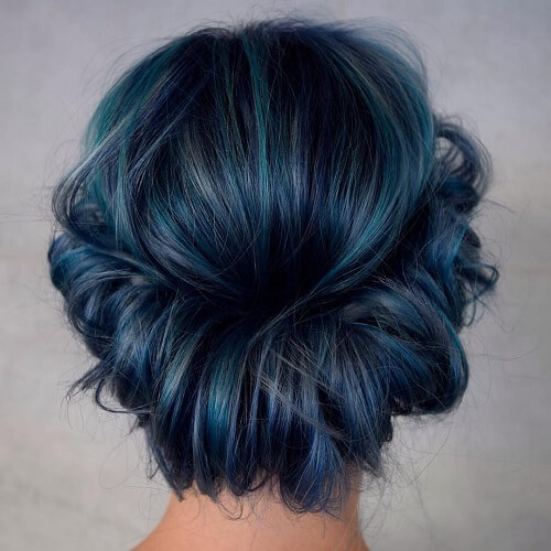 Metallic Blue and Teal Hair Color Highlights