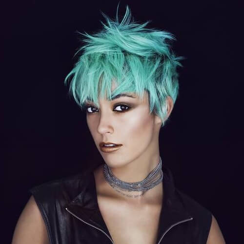 Pixie Cut with Teal Hair