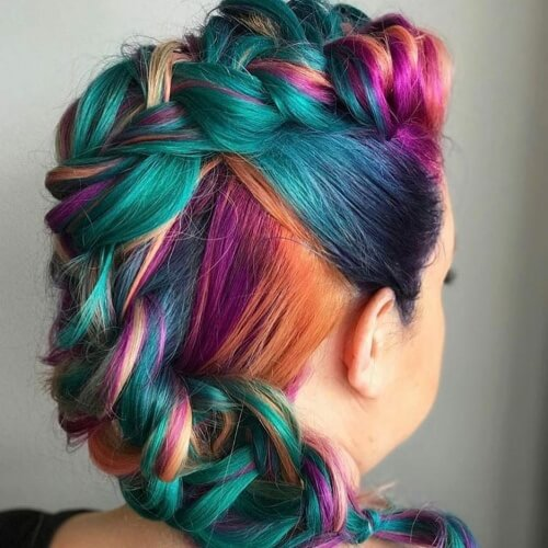 Rainbow Teal Hair