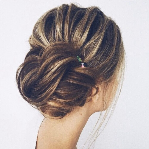 Side Bun Wedding Hairstyles for Long Hair