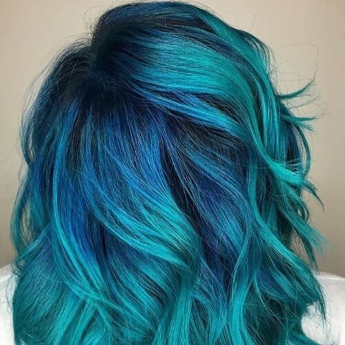 Teal Hair Color Balayage