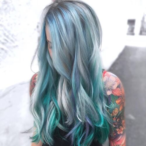 Teal Hair Color Lowlights