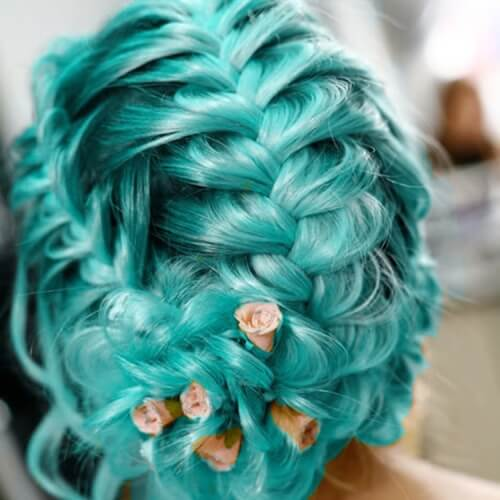 Teal Hair Color with Braids