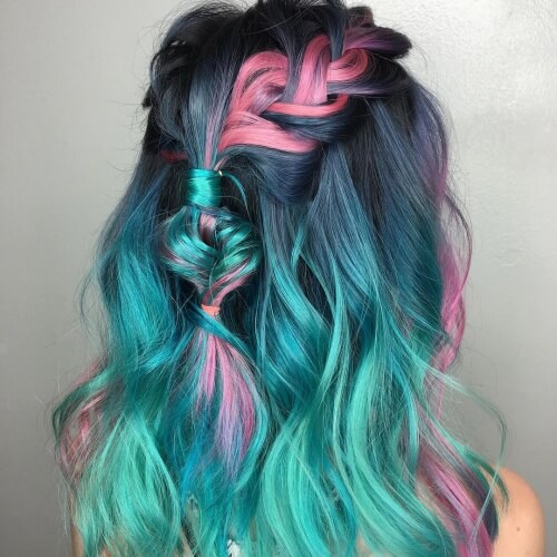 Teal Hair Color with Pink and Steel Blue Highlights