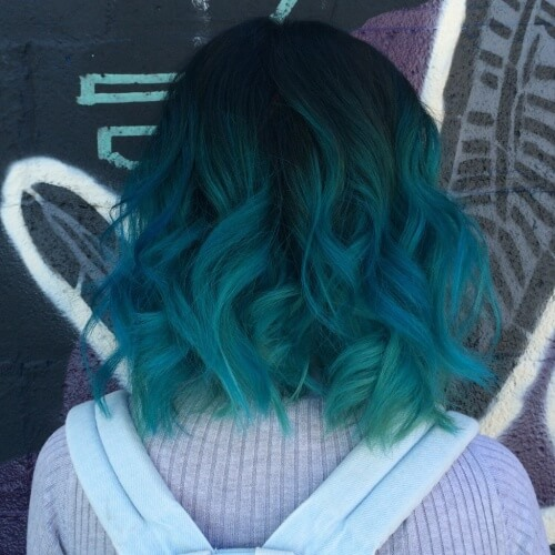 Teal Hair Color with Shadow Roots