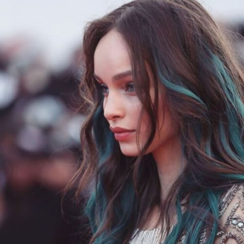 Teal Hair Highlights on Brown Hair