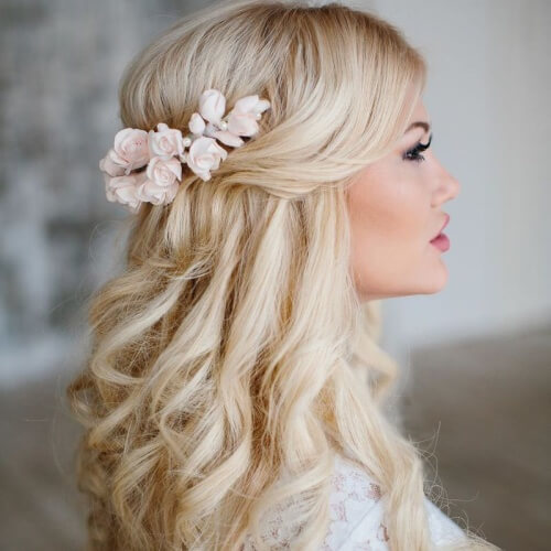 Wedding Hairstyles for Long Hair with Roses