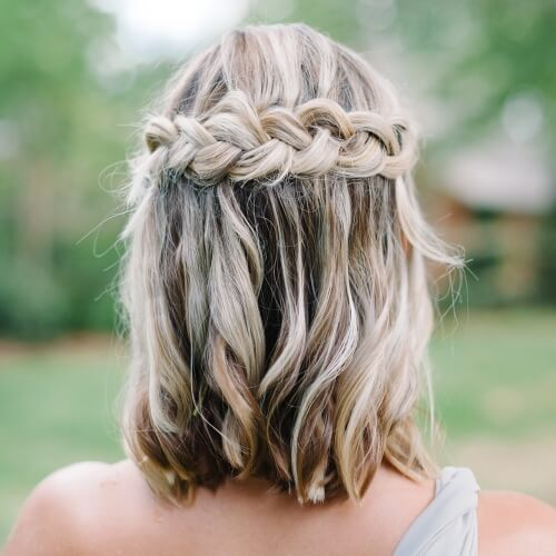 Back Braid Prom Hairstyles for Short Hair