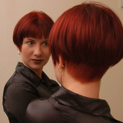 Burgundy Wedge Haircut