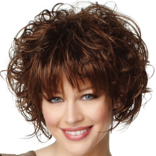 Curly Wedge Haircut with Straight Bangs