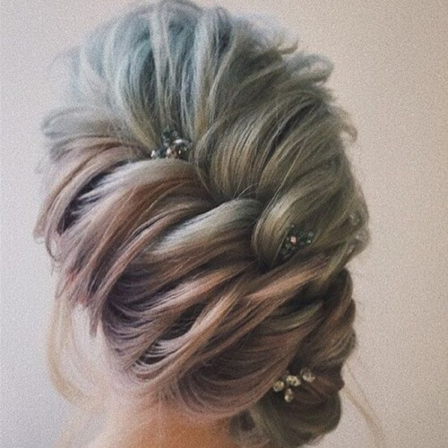 Diagonal Braid Wedding Hairstyles for Short Hair