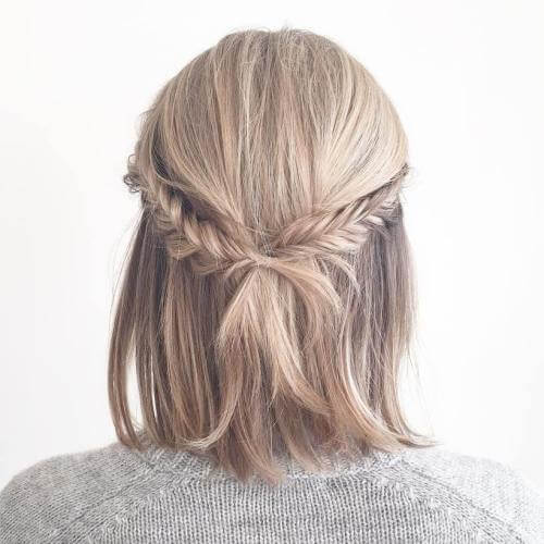 Half Up Braided Wedding Hairstyles for Short Hair