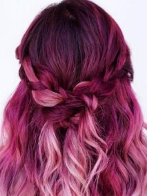 Light Pink and Magenta Hair Color