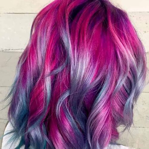 Magenta Hair Color with Highlights