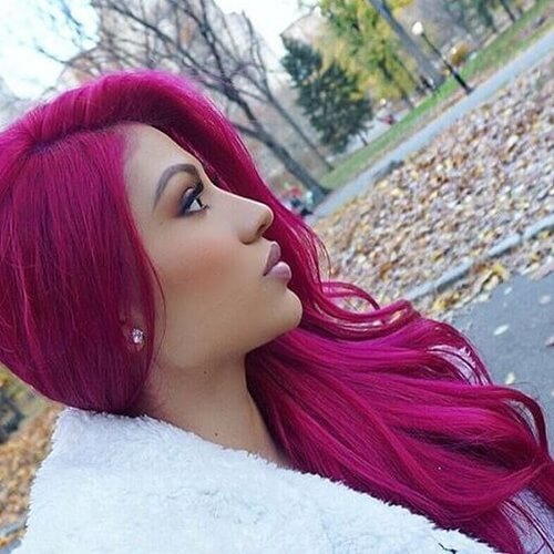 Magenta Hair Color with Olive Skin