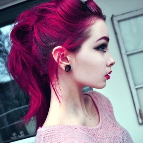 Pale Skin and Magenta Hair